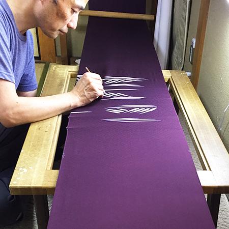 日本舞踊の西川流お誂え訪問着をご制作される伝統工芸士細井智之先生